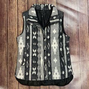 Staccato Gray Aztec Print Puffy Vest